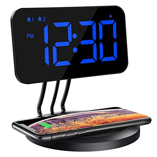 TOPELEK Wireless Charging Alarm Clock, 4.7'' Alarm Clock with 5W Wireless Charging Pad, for All Qi-Enabled Phones, Dual Alarm Clock with Snooze Button, Adjustable Dimmer, 12/24H, [CNET Recommend]