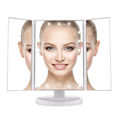 Easehold LED Vanity Mirror Make up Tri-Fold with 21Pcs Lights 180 Degree Free Rotation Table Countertop Cosmetic Bathroom, - Mirror Tabletop Vanity
