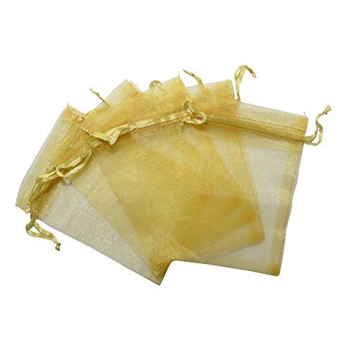 RakrisaSupplies 100Pcs Gold Organza Bags 6x9
