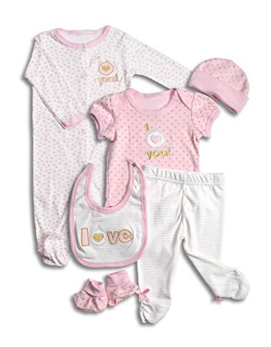 (Layette Set, 6 Piece Baby Essentials for Newborn Unisex Gift Boys and Girls )