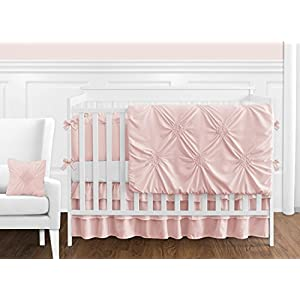 Solid Color Blush Pink Shabby Chic Side Crib Rail Guards Baby Teething Cover Protector Wrap for Harper Collection by Sweet Jojo Designs – Set of 2