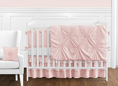(Solid Color Blush Pink Shabby Chic Harper Baby Girl Crib Bedding Set with Bumper by Sweet Jojo Designs - 9 pieces)