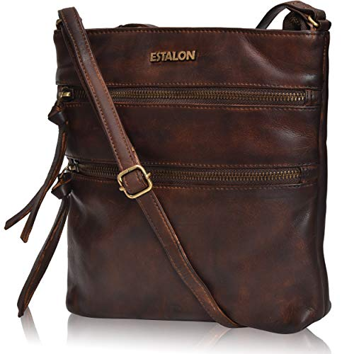 Leather Crossbody Purses for women travel bags small shoulder bag crossover Bag for women by Estalon ()