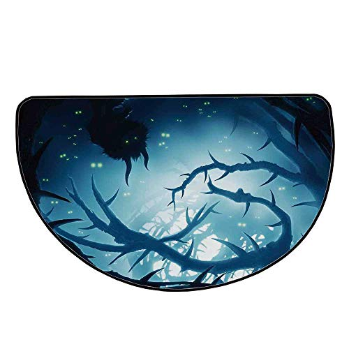 Mystic House Decor Comfortable Semicircle Mat,Animal with Burning Eyes in Dark Forest at Night Horror Halloween Illustration for Living Room,35.4