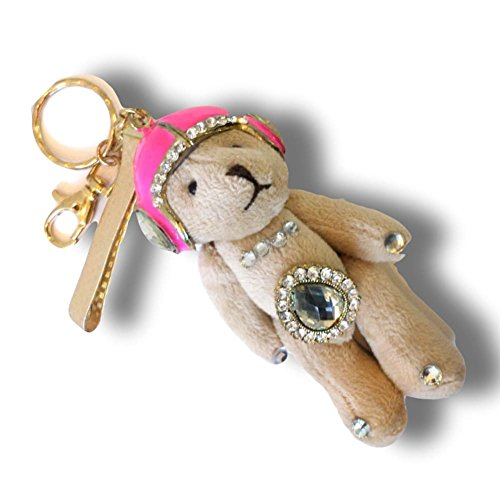 """Adorned Teddy Bear Charm (Unique & Custom 1 Single Medium Size """"Carabiner"""" Circle Keychain Ring Made of Metal w/ Beautiful Teddy Bear Wearing a Helmet Charm w/ Daimond Accents Made of Metal & Fur {Gold, Pink & Tan})"""