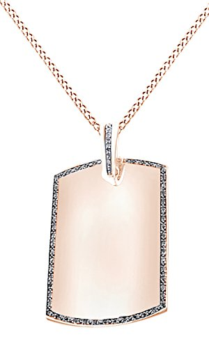 Simulated Black Cubic Zirconia Men's Hip Hop Dog Tag Pendant In 14k Rose Gold Over Sterling Silver by AFFY