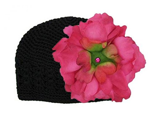 (Jamie Rae Hats Black Crochet Hat with Raspberry Large Peony, Size: 12-18m)
