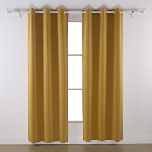 Deconovo Room Darkening Thermal Insulated Yellow Grommet Window Blackout Curtain Panel for Bedroom, Yellow,42x84-inch,1 Panel (Curtains Golden Yellow)