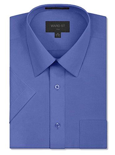 Ward St Men's Regular Fit Short Sleeve Dress Shirts, 3XL, 19-19.5N, French Blue (Big And Tall Short Sleeve Dress Shirts)