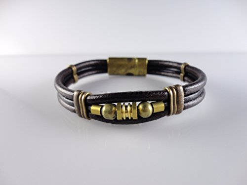 Genuine Leather 3 Strings Bracelet, Black Color, Fits 7.8 by Handmade Studio HS4202L - Fossil Brand Charms