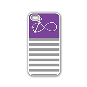Anchored-Forever Purple & Grey Stripes White iPhone 5 Case - For iPhone 5/5G - Designer PC Case Verizon AT&T Sprint