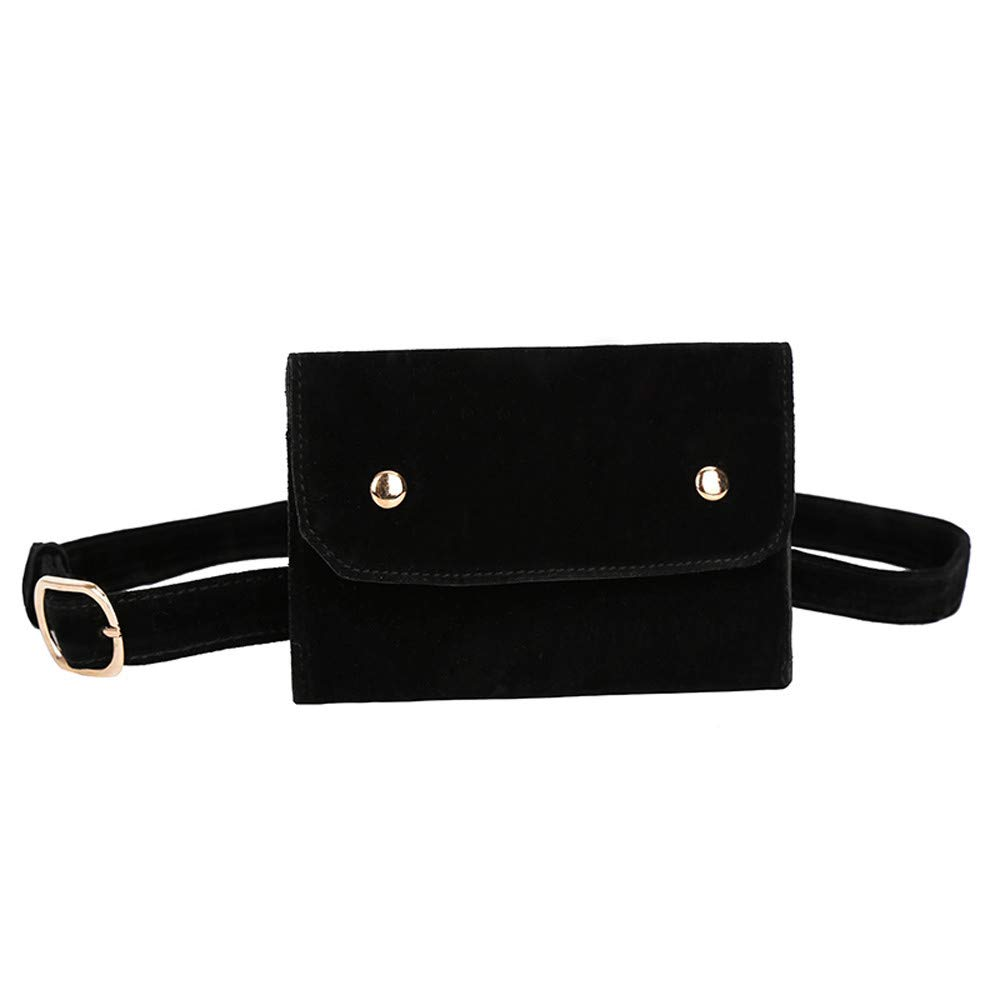 Women's Messenger Bag Clearance, Iuhan Fashion Women Pure Color Square Flock Messenger Bag Chest Bag Waist Bag (Black)