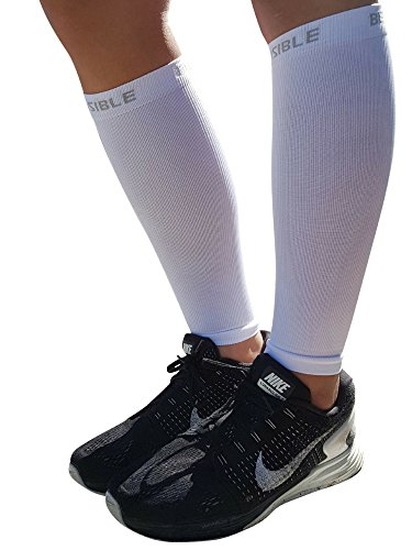 BeVisible Sports Calf Compression Sleeve Shin Splint Leg Compression Socks for Men & Women - Great for Running, Cycling, Air Travel, Support, Circulation & Recovery - 1 Pair (White, Small-Medium)