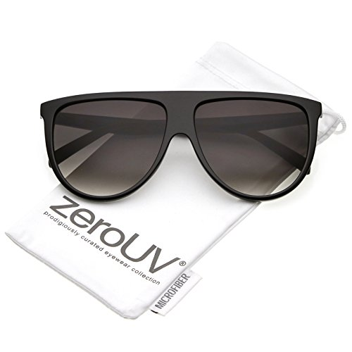 zeroUV - Modern Oversize Flat Top Neutral Color Flat Lens Aviator Sunglasses 59mm (Black / - Sunglasses Flat Top Quay