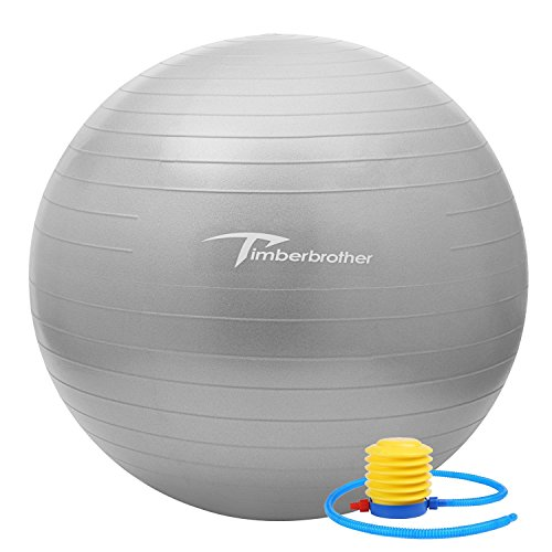 Timberbrother Anti-Burst Exercise Stability Ball/Fitness Ball/Balance Ball with Foot Pump - 55cm/65cm/75cm (Silver, 55cm) by Timberbrother