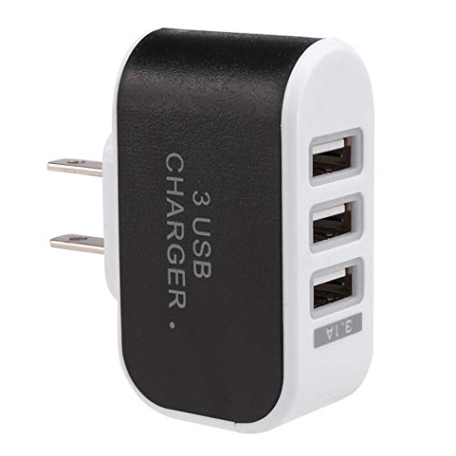 Didade New 3-Port USB Wall Home Travel AC Charger Adapter for Phone US Plug (Black)