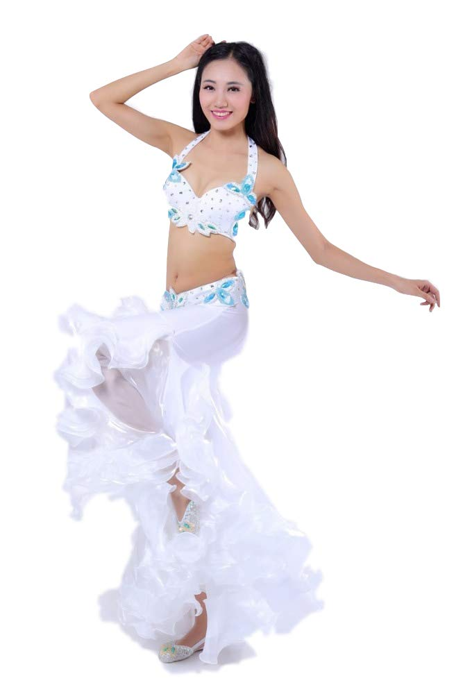 レディースインディアンダンスベリーダンスコスチューム民族衣装ベリーダンスステージ性能コスチュームスキーブラジャーセット,白い,S 白い Small