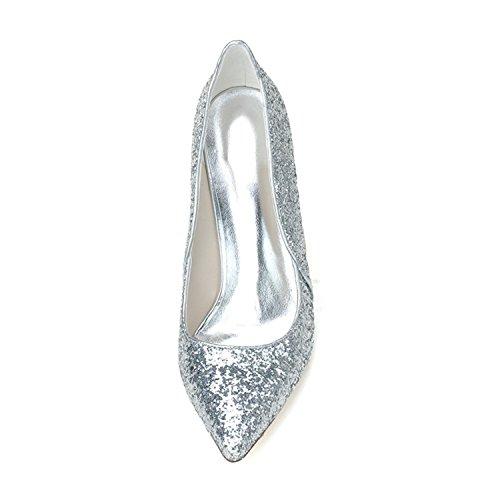 boda punta de zapatos Clearbridal estrecha Plata con las para mujeres Zapatos ZXF0608 y de 13 baile gd50n0wHq