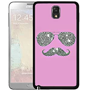 Funny Glitter Pink Mustache With Glasses Hard Snap On cell Phone Case Cover Samsung Galaxy Note III 3 N9000