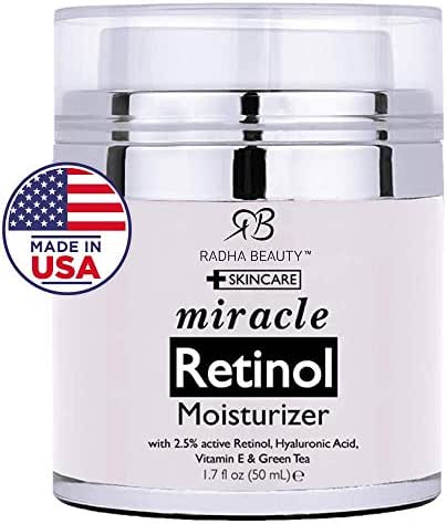 Radha Beauty Retinol Moisturizer Cream for Face - with Retinol, Hyaluronic Acid, Vitamin E and Green Tea. Best Night and Day Moisturizing Cream 1.7 fl oz