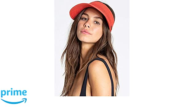 d89890ee Amazon.com: Billabong Women's Not Now Straw Visor Sunset Red One Size:  Clothing