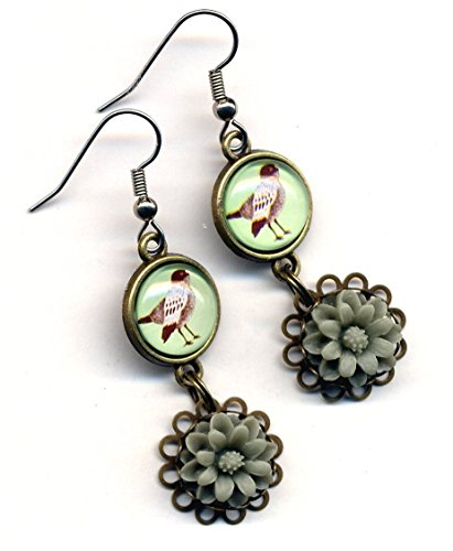 Bird Earrings, Floral Earrings, Grey Green Beige Earrings,Stainless Steel Earrings, Love Birds Earrings, Surgical Steel Earrings, Handmade by AnnaArt72