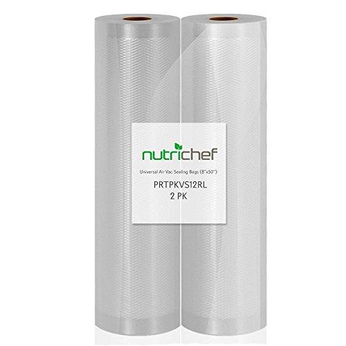 (2) Rolls Vacuum Sealer Bags - 8 Width, 50 Length Each Roll - For NutriChef PKVS10BK, PKVS10WT, PKVS18SL, PKVS18BK, PKVS20STS, PKVS30STS, and Other Vacuum Air Sealing Systems - NutriChef PRTPKVS12RL