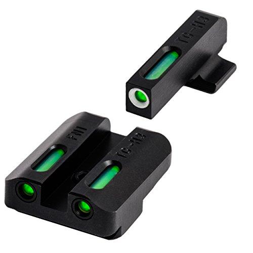 Truglo Green Rear Sight (Truglo TG13FN1A Front Rear Set Sights TFX Tritium Fiber Optic Set, Green, Steel black, Fnx9)