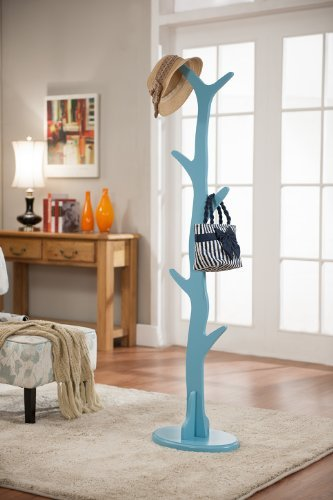 - King's Brand Contemporary Tree Style Wood Coat and Hat Rack Stand, Turquoise Blue