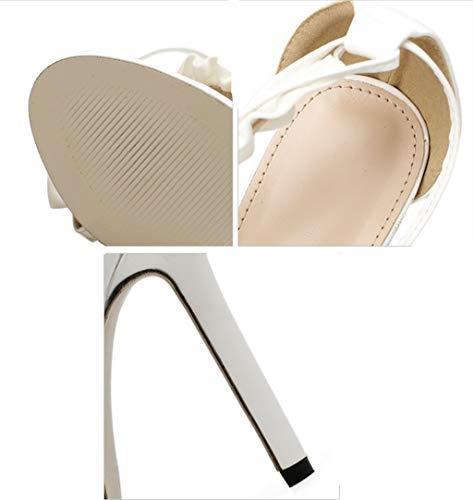 di Bianca Shoe Loto Dimensioni store Alti Americane 38 a Colore Femminili Foglia Europee Tacchi Tacchi con con Balze Spillo e 8TR8z