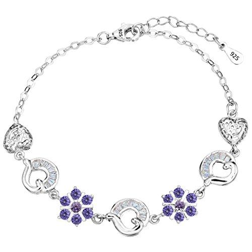 (EleQueen 925 Sterling Silver CZ Flower Vintage Inspired Filigree Heart Winter Snowflake Bracelet Chain, 6.9