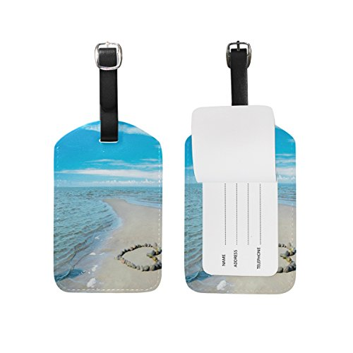 JSTEL Beach Luggage Tags Suitcase Labels Travel ID Identifier Privacy Cover Beach Theme Luggage Tag