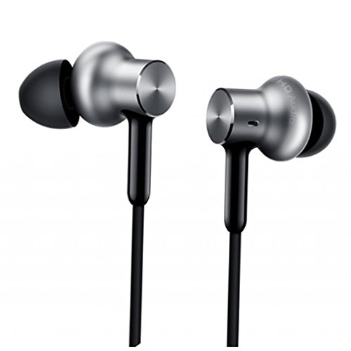(Xiaomi QTEJ02JY Original MI Circle Iron Hybrid Earphone Headphone Headset Earbud In-Ear Remote & Mic-Silver Pro HD version)