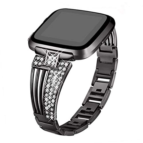 Haluoo Stainless Steel Band Compatible Fitbit Versa, Metal Bling Bands Bracelet Bangle Adjustable Replacement Strap Wristband for Fitbit Versa Smartwatch Accessories (Black)