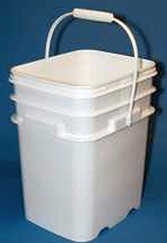 Square Pail Lid - 5.3 Gallon Square Ez Stor Plastic Bucket and lid, w/Handle, 6 Pack
