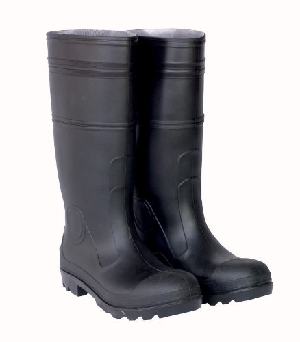 CLC Custom Leathercraft Rain Wear R24009 Over the Sock Black PVC Rain Boot, With Steel Toe, Size 9 B002WN2T3O Size 9