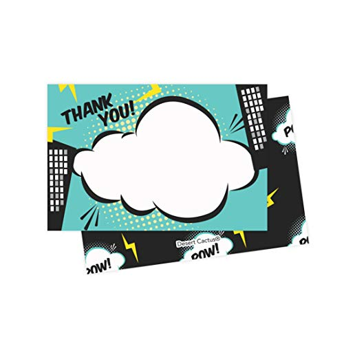 Superhero Thank You Cards (25 Count) With Envelopes & Seal Stickers Bulk Birthday Party Bridal Blank Graduation Kids Children Boy Girl Baby Shower]()