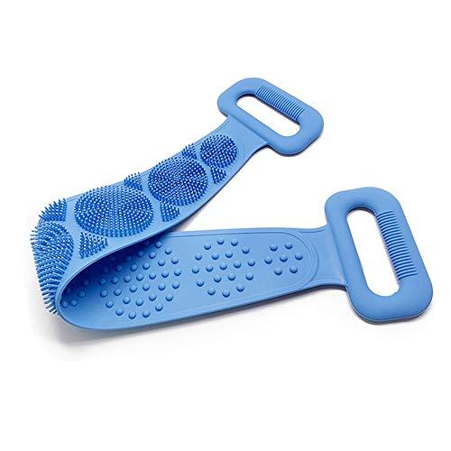 Massagebürste Silikon körperbürste Rückenbürste Badebürste Set mit Doppelseitiges Dusch-Peeling-Massagetuch für Haut-Peeling Tiefenreinigung (blue)
