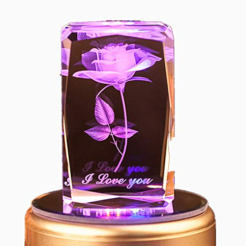 3d Laser Crystal Figurine - Crystal Artificial Flower Rose Musical Light, Colorful LED Light 3D Rose Laser Etched Crystal Figurines With Music Box Memory Card and Bluetooth Light Base Best Gift for Valentine's Day