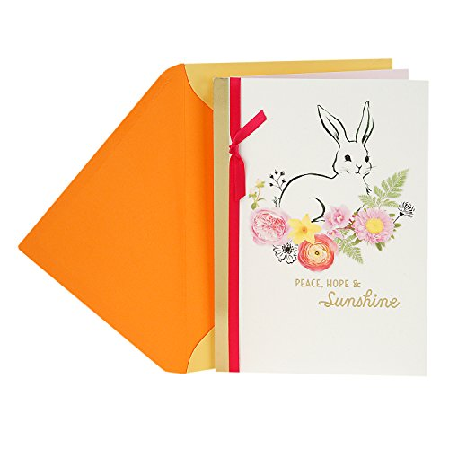 Hallmark Easter Greeting Card (Floral Bunny Peace, Hope and Everything Good) -
