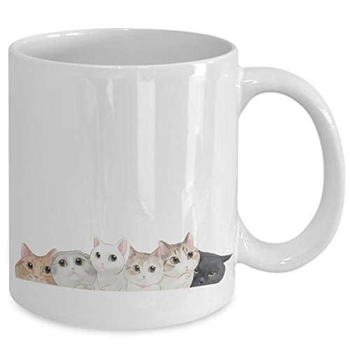 Stick Figure Costume Gif (Funny Cat Coffee Mugs For Cat Lovers - Best Novelty Gifts 11 oz Coffee Mug Tea Cup White Great Idea For Birthday Wedding Anniversary Christmas)