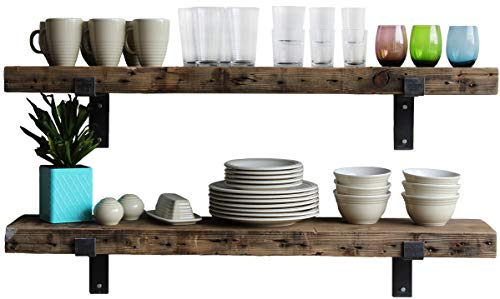 Urban Legacy Reclaimed Barn Wood Shelves | Amish Handcrafted in Lancaster, PA Rustic, Industrial, with Raw Metal Brackets - 48 inches Long, 10 inches deep by 2 1/2 inches Thick | Set of 2