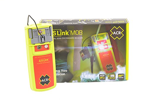 ACR AISLink Mob Personal Man Overboard Beacon. Internal GPS, Manual and Automatic Activation, AIS and DSC Alerts, 24hr Operating Life Includes Life Jacket Mounting Clips, Lanyards, Reflective Tape.
