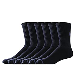 Under Armour Men's Charged Cotton Crew Socks (Pack of 6), Black, Medium