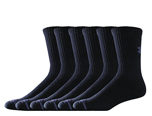 Pack Mens Basketball (Under Armour Men's Charged Cotton Crew Socks (Pack of 6), Black, Medium)