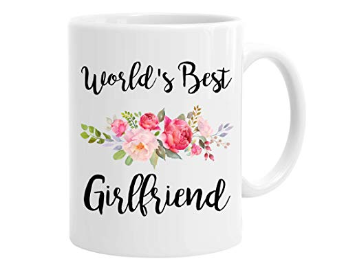 InterestPrint World's Best Girlfriend 11 Oz Ceramic Coffee Mugs Tea Cup - Funny Sarcasm Motivational Birthday Christmas Valentine's Day Gifts for Wife, Girlfriend, BFF Friends, Women (World's Best Girlfriend Mug)