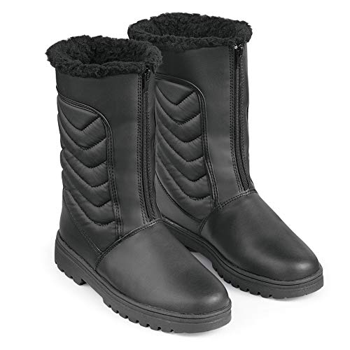 Zip Front Winter Snow Boot with Ice Grips, Black, 9 by Collections Etc