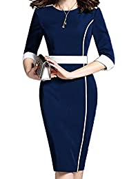 Women's Short Sleeve Colorblock Slim Bodycon Business...