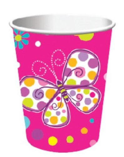 8-Count 9-Ounce Hot/Cold Beverage Cups, Butterfly Sparkle]()