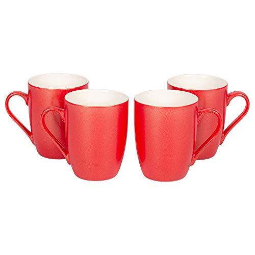 Crimson Red Glossy Finish 10 Oz. New Bone China Coffee Cup Mugs Set of 4